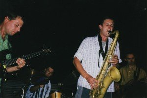 SNAG playing at a rooftop party in Zurich 1998
